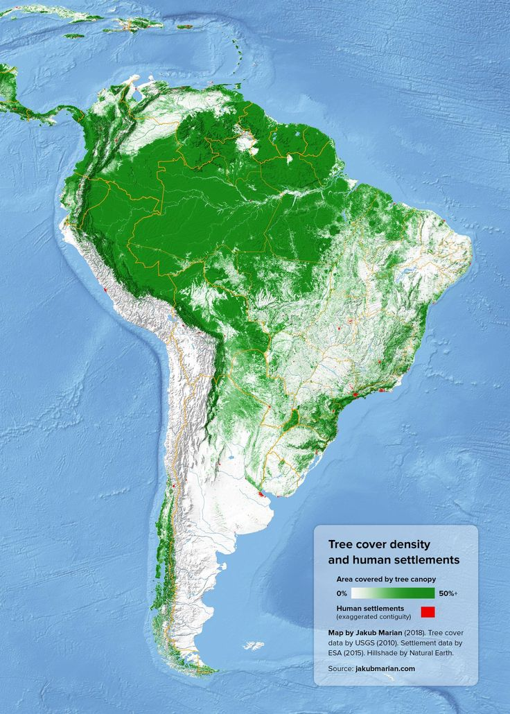 Tree Cover Density and Human Settlements of South America