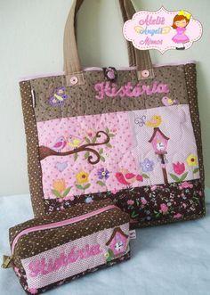 Bolsa em patch feita com tecidos 100% algodão 40x38x10cm <br>estojo box 23x9x9cm <br>Personalizamos com cores, tema e nome a seu gosto!