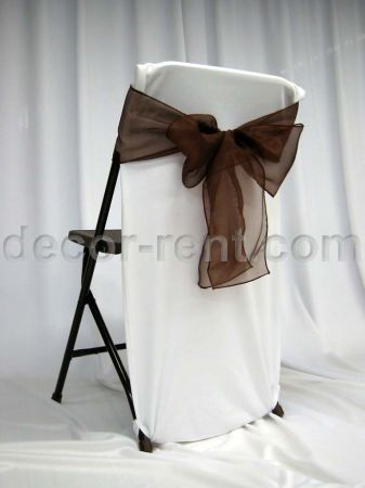 Folding Chair Back Cover White With Chocolate Organza Bow (side)