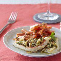Filets de Rouget gratiné au cidre, façon provençale, et petites carottes rôties au thym, fenouil et cidre brut. - Magicmaman.com