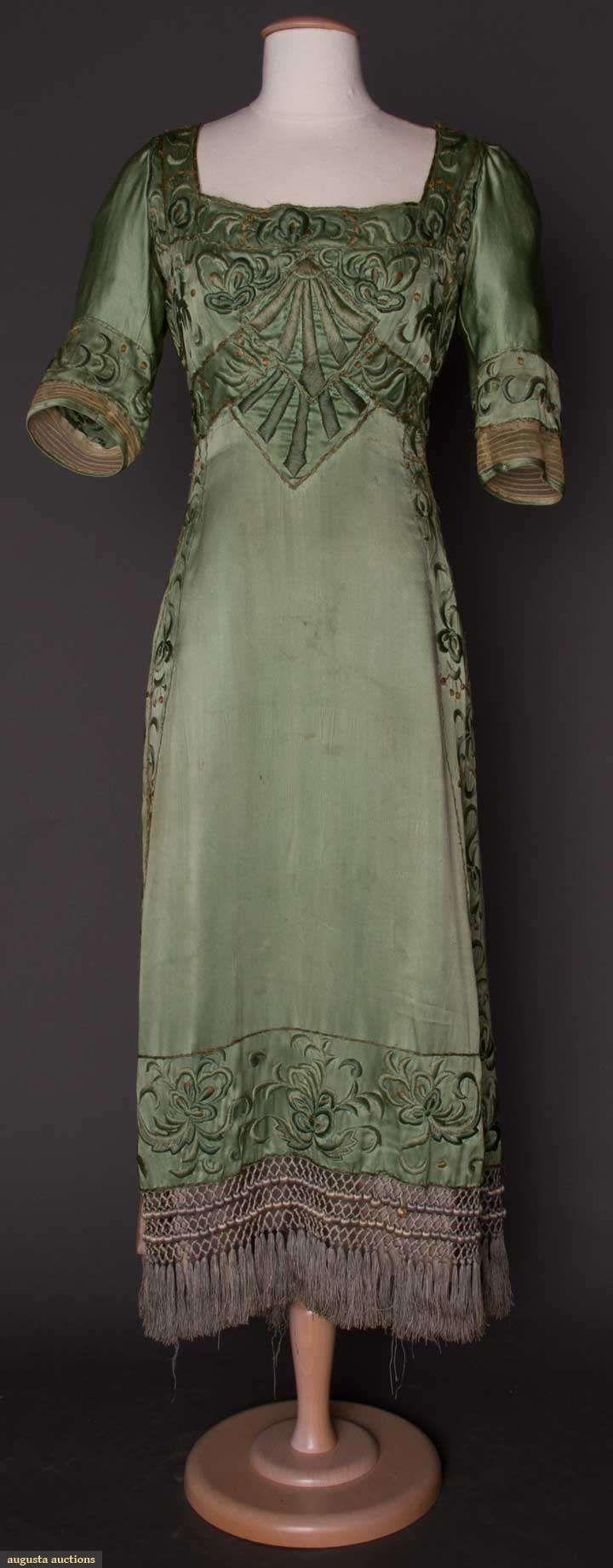 Sage green satin Arts and Crafts dress. 1910.