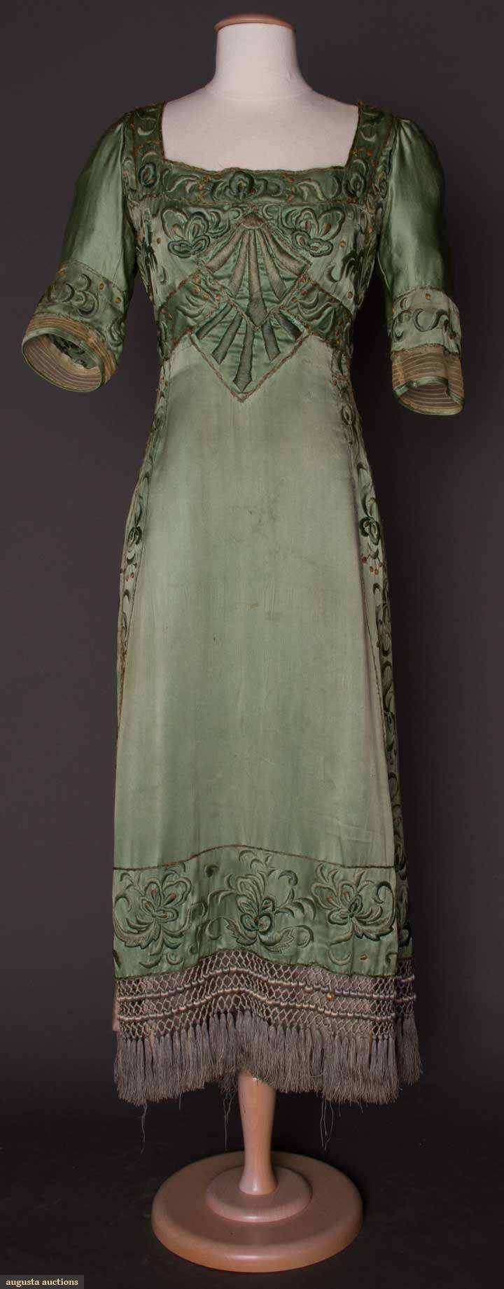 Augusta Auctions, MAY 8th & 9th, 2012, Lot 181: Arts  Crafts Embroidered Gown, C. 1910