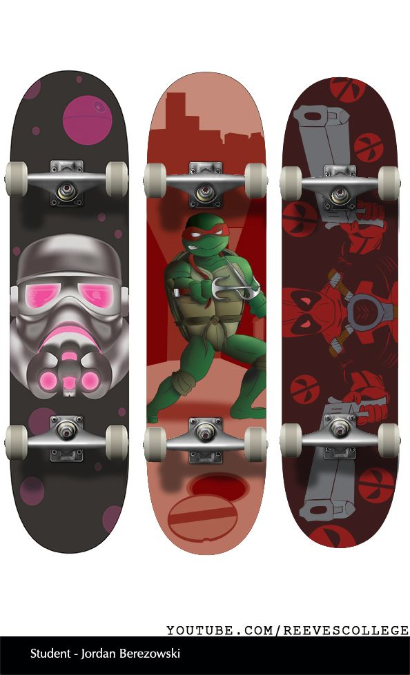 Skateboard Deck Design Adobe Illustrator CS6 by Reeves College Student Jordan B  #skateboard #clipart #design #art #skateboardart #skateboarddesign #skatedeck #deckart #deckdesign #graphicdesign Subscribe to Reeves College:  http://www.youtube.com/subscription_center?add_user=ReevesCollege