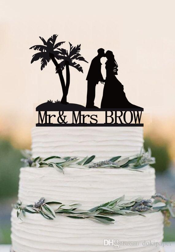2017 Wedding Cake Topper With Last Name,Beach Cake Topper,Acrylic Decoration,Palm Tree Topper,Custom Topper,Personalized Topper From Dokipaper, $14.07   Dhgate.Com
