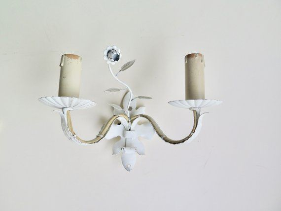 White toleware sconce shabby chic home decor vintage french toleware