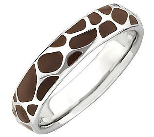 Simply Stacks Sterling Brown Epoxy Enamel Animal Print Ring