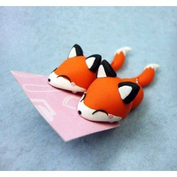 Foxy Bite Ears,fimo, handmade,hecho a mano,polymer clay,come orejas,earrings,zorro,animal