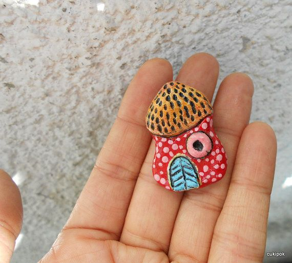 SALEWhimsical house pin-paper clay house brooches by cukipokshop