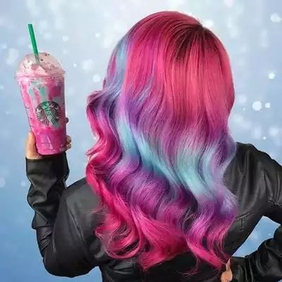 #UnicornHair + #UnicornFrappuccino = a match made in heaven! @caitlinfordhair used our vegan dyes in Strawberry Jam, Chocolate Cherry & Anime to create this uniconilicious look! #limecrime #starbucks