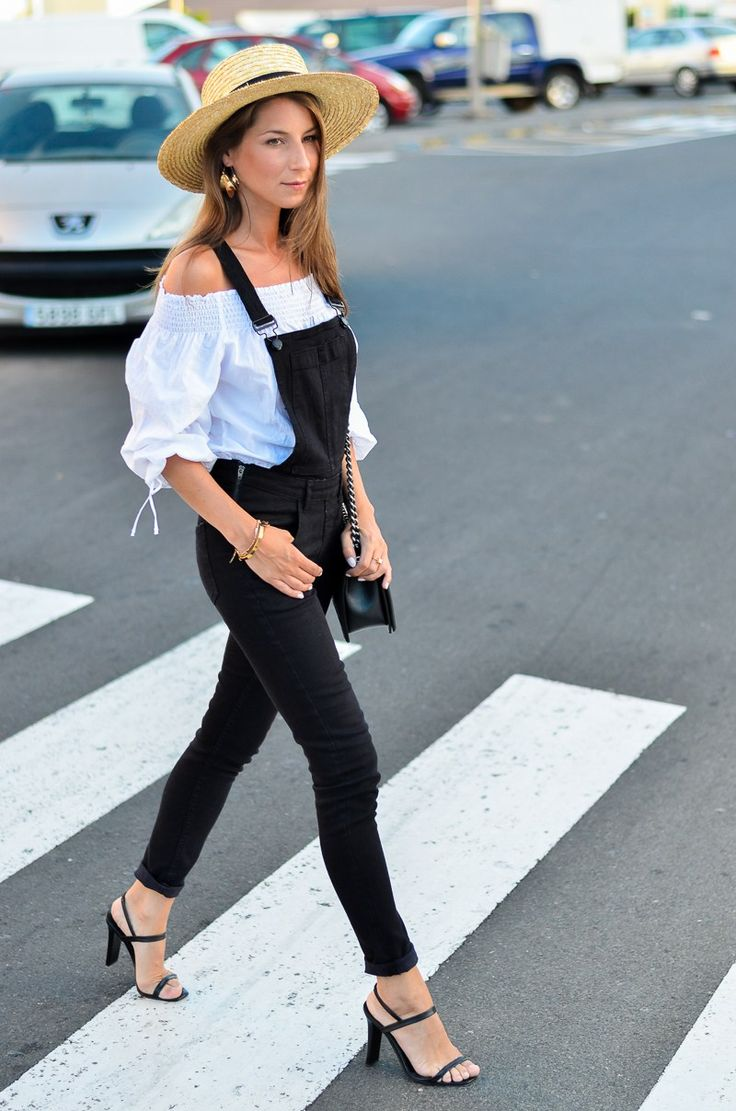Street Style :: Black Dungarees & Off Shoulder Blouse