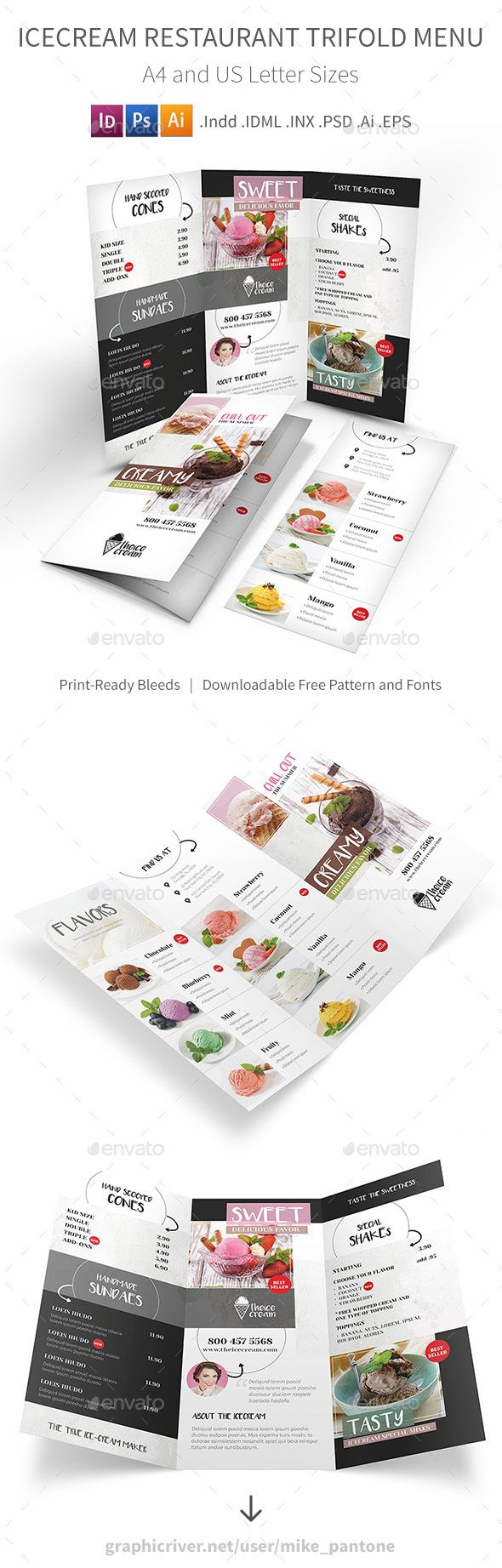 Ice Cream Restaurant Trifold Menu - Food Menus Print Templates Download here : https://graphicriver.net/item/ice-cream-restaurant-trifold-menu/18951425?s_rank=134&ref=Al-fatih