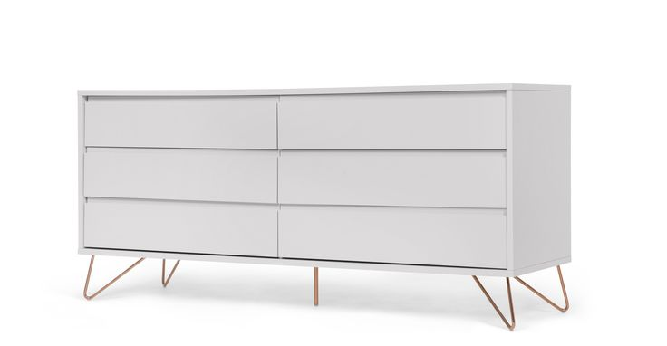 Elona wide chest of drawers, grey and copper
