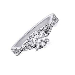 0.38Ct D/ VVS1 Semi-Mount Engagement Ring In 10K Solid White Gold Bridal Jewelry by JewelryHub on Opensky