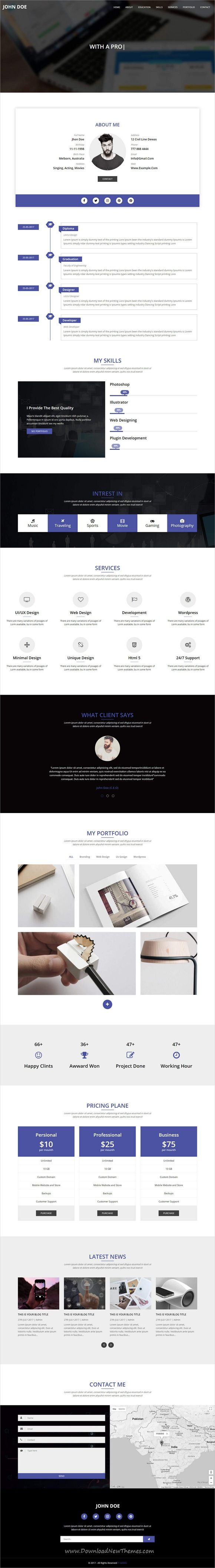 OnePager is clean and modern design multipurpose responsive #HTML template for #resume #CV and #portfolio showcase website with 21+ niche homepage layouts download now..