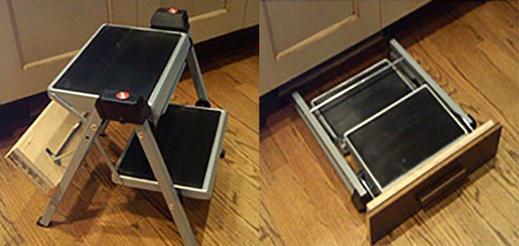 Folding Step Stool - Steel compact folding stool for kitchen use folds flat and rolls on floor. Designed to build into the toe space under the cabu2026 & Folding Step Stool - Steel compact folding stool for kitchen use ... islam-shia.org