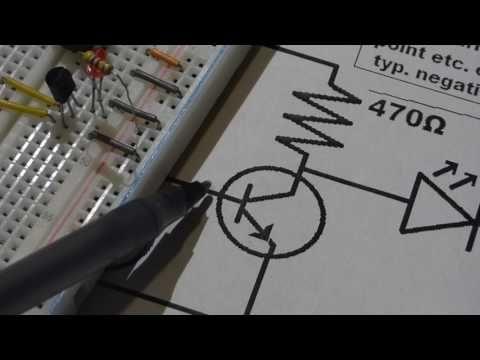 Two NPN 2n2222 transistor based electronics schmitt trigger circuit step...