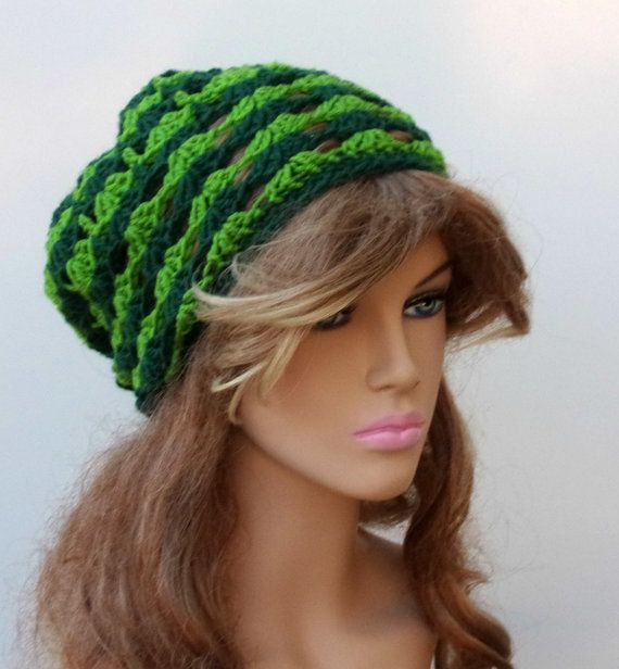 Green Slouchy Beanie Hat small dread tam by PurpleSageDesignz