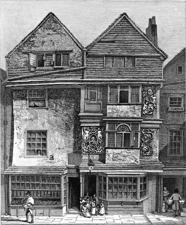 Houses on the South Side of London Wall – Drawn March 1808