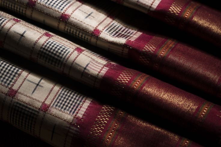 Celebrate the ancient textile craft of Ikat with this collection of saris from Ghanshyam Sarode #ikat #saris #india #handloom #luxury #pairsera