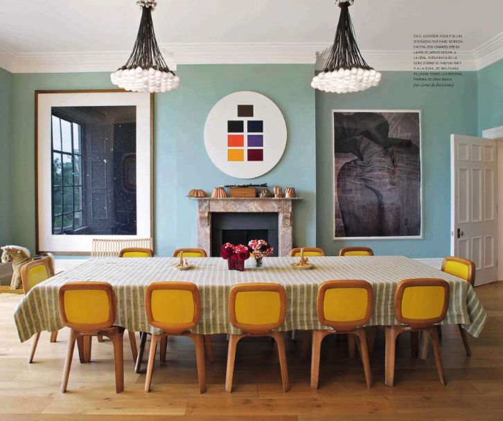 Long Rectangular Dining Table Yellow Dining Chairs Mid