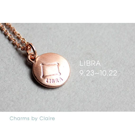 Hey, I found this really awesome Etsy listing at https://www.etsy.com/listing/450497230/libra-zodiac-disc-charms-rose-gold