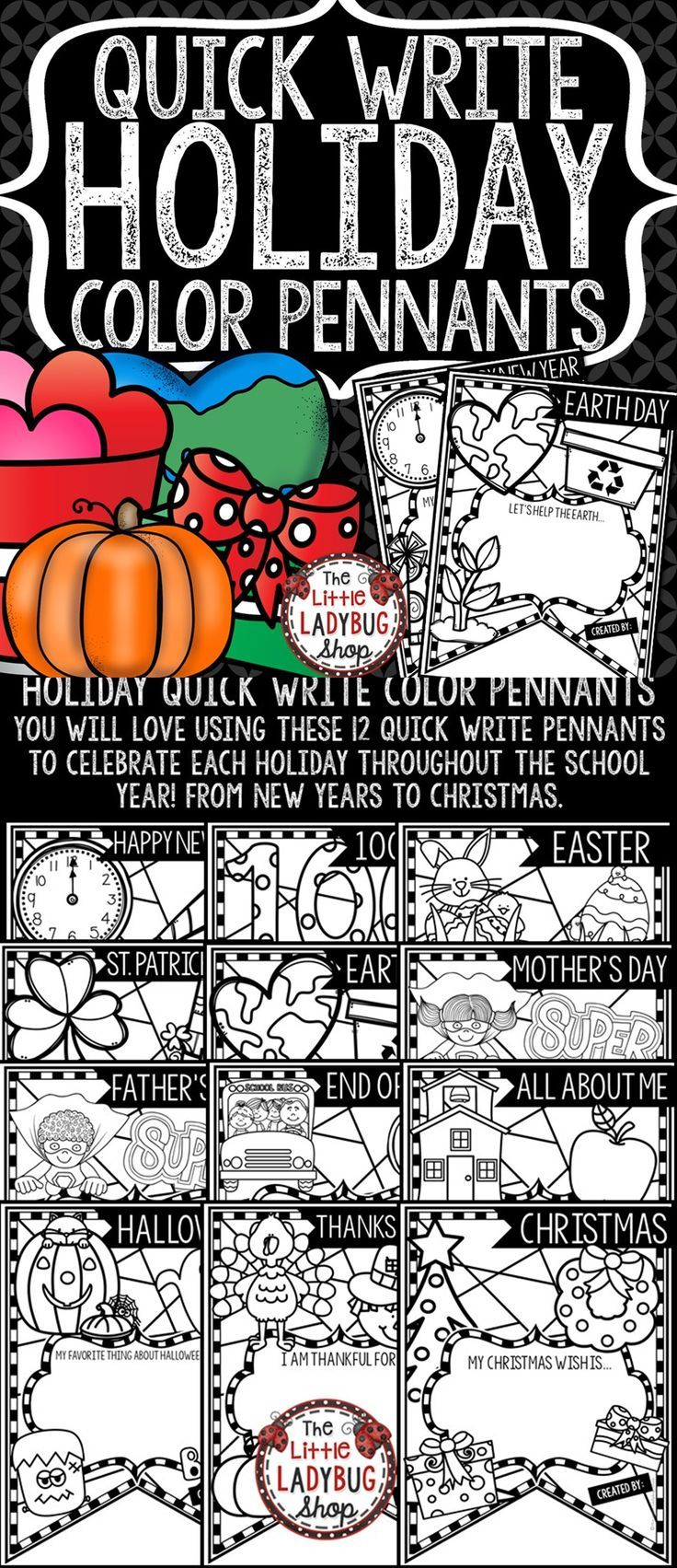 You will Love these Quick Write Abstract Color Pennants! You will Love using these 13 quick write pennants to celebrate each holiday throughout the school year! From New Years to Christmas. Holiday Writing Activities.