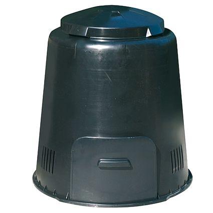 Het compostvat 280 liter is van kunststof en wordt geleverd in de kleur zwart. Van onder uit kan er goed zuurstof bij de inhoud komen zodat het composteringsproces versneld wordt. De beluchtingssleuven aan de zijkant versnellen mede dit proces. De deksel is ook voorzien van beluchtingsgaten zodat er de juiste luchtcirculatie ontstaat in de ton. Het compostvat heeft een schuif aan de voorzijde zodat de compost gemakkelijk uit de ton gehaald kan worden.
