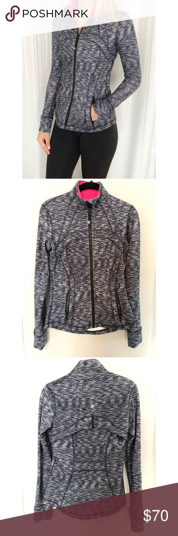LuLuLemon Define Jacket This LuLuLemon Define Jacket is a rare color with a marled black and white with a hot pink inside color. Only worn once. lululemon athletica Tops Sweatshirts & Hoodies
