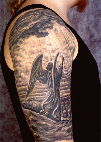 Grey Ink 3D Angel Tattoo On Man Right Half Sleeve