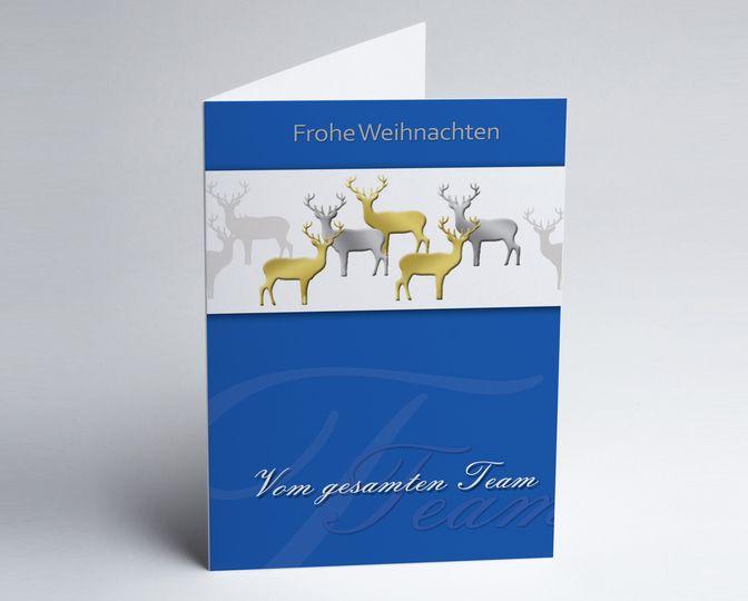 Blaue Team-Weihnachtskarte mit gold- und silberfarbigen Hirschen http://www.weihnachtskarten-plus.de/weihnachtskarten/teamwork-weihnachtskarte/794-artnr-150173-a-teamkarte-blau-5-hirsche.html