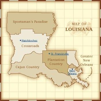 LOUISIANA,  Map of areas of Louisiana. Crossroads, Sportsman's Paradise, Cajun Country, Plantation Country