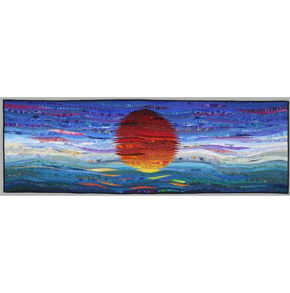 Large quilted wall art. Sunrise. Modern quilt. 30x80 inches. Original art. Statement art. Contemporary fiber. Modern textile art. Home decor