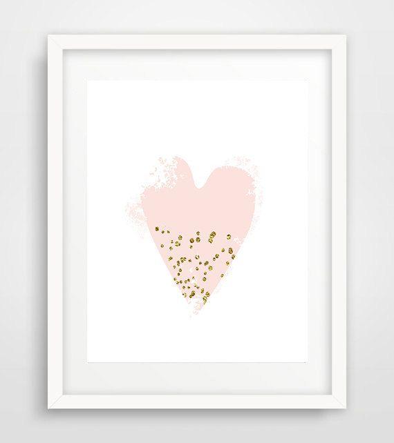 Pink confetti heart print, pink heart print, printable heart art, blush pink…