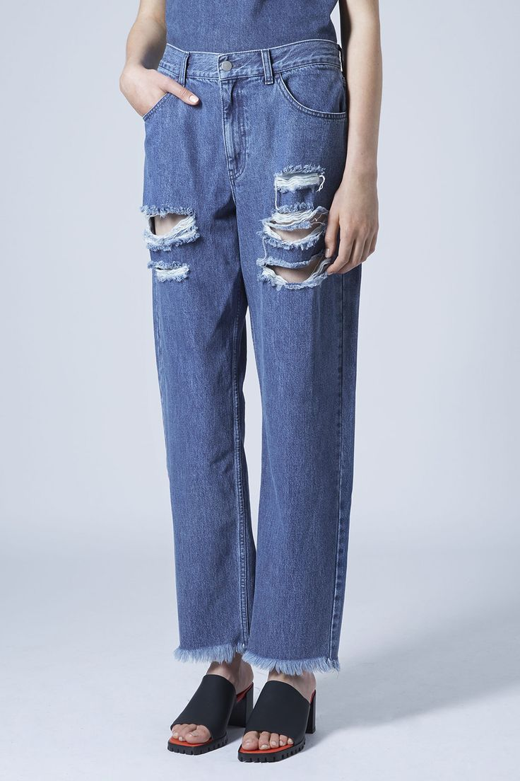 Topshop Ripped Boyfriend Jeans by Marques Almeida X Topshop-MID