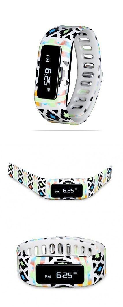 GabbaGoods Kids Fitness Watch Activity Tracker, Kids Smart Wristband Watch, Wireless (Activity Health Tracker) Wearable printed band Pedometer with free mobile app - Neon Aztec