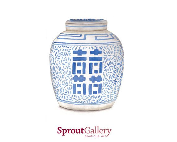 Blue and white double happiness ginger jar.  An Art Print of my original watercolour painting.  Printed with archival inks on Hahnemuhle