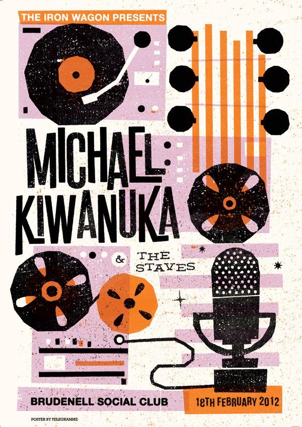 3 colour screen printed poster for Michael Kiwanuka by Telegramme Studio
