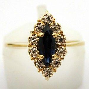 Bague de fiançailles en or saphir et diamants.  Vendue  #bague #vintage #fiancailles #paris: Bague Vintage, Bagues De, Vendue Bague, Bague De