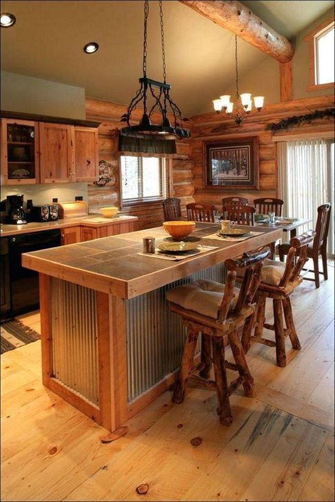 50 Classy Wooden Kitchen Island Ideas For Your Kitchen In 2020 Log Home Kitchens Small Cabin Kitchens Rustic Kitchen Island