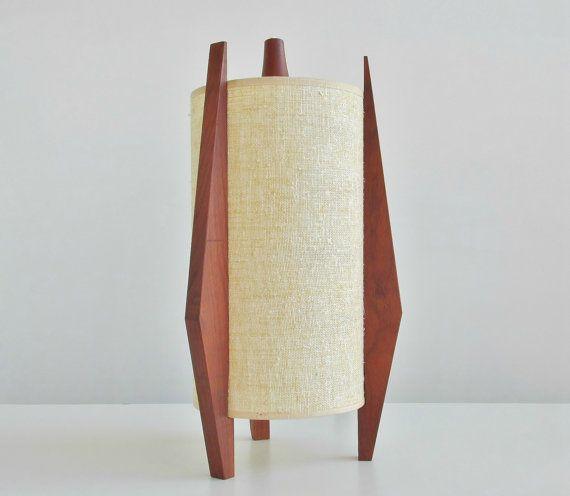 Mid Century Danish Modern Rocket Style Teak Pendant Lamp Light / Atomic Space Age Swag Fixture $195