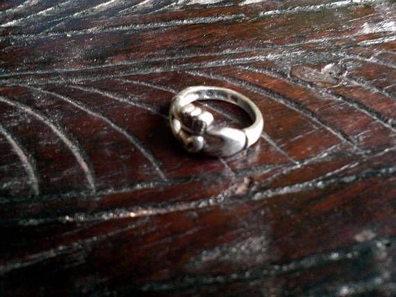 años 50 anillo de Claddagh celta plata esterlina anillo