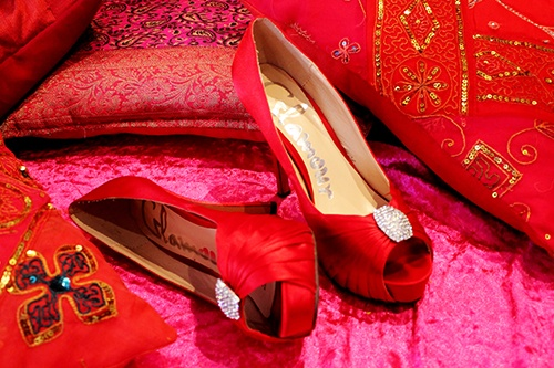 Ruby peep-toes www.amouraffairs.in Amour Affairs | Indian Bride | Indian Wedding | South Asian | Bridal wear | Lehenga | Bridal Jewellery | Makeup | Hairstyling | Indian | South Asian Indian Bridal Hairstyles and Makeup