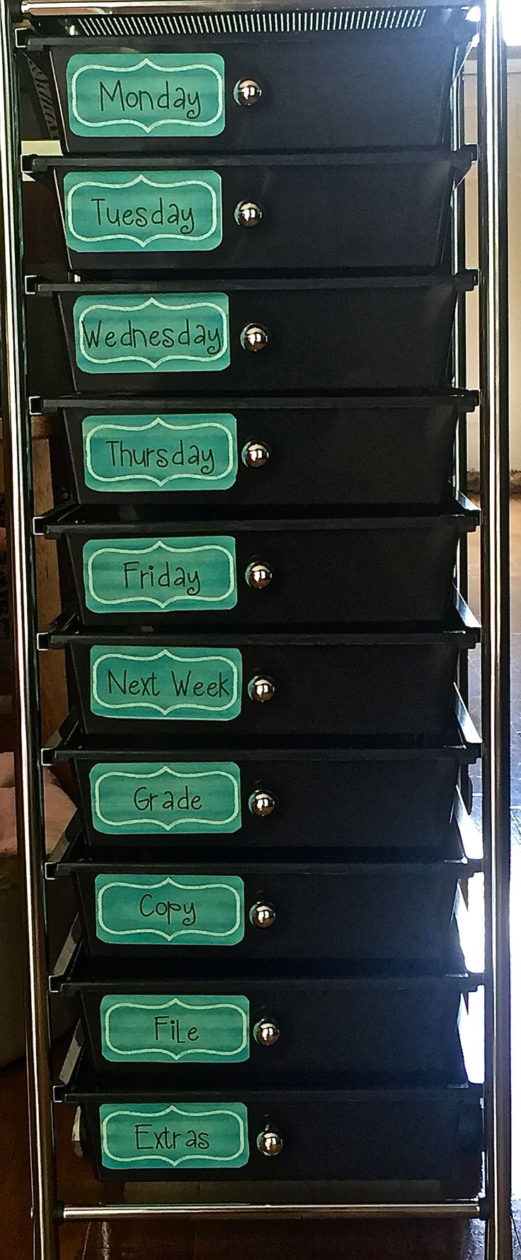 Drawers from Target. I made labels from School Girl Style to stay organized. Labels are: Monday, Tuesday, Wednesday, Thursday, Friday, Next Week, Grade, Copy, File, and Extras!