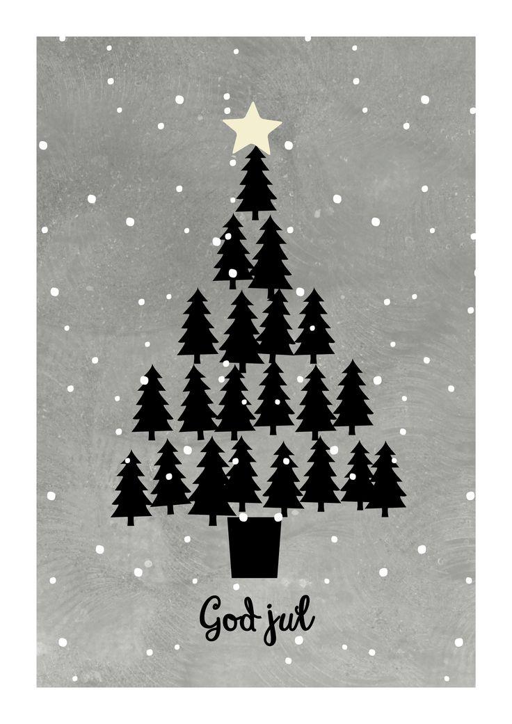 God Jul-poster  Christmas tree poster