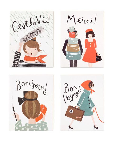 French Card Set, pretty french things