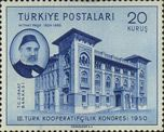Turkey Stamp - Agricultural Bank Headquarters Building Cooperative Congress -Ankara series 2.Type Year of publication: 1950 Place of printed Helograv Courvoisier-Switzerland
