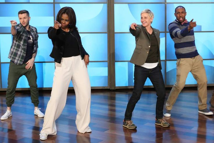 Michelle Obama and Ellen dance together for the HighFive initiative to get people up and moving to get healthy