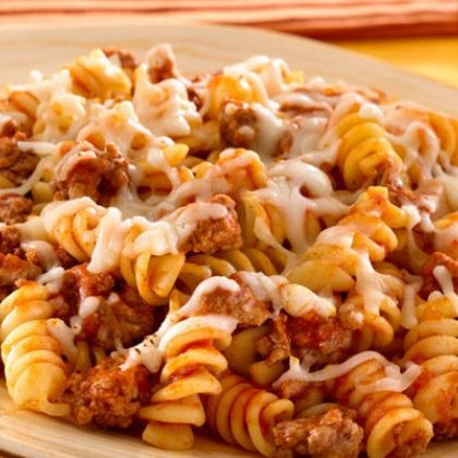 Skillet Pasta and Beef Dinner -- just made this like 10 minutes ago. With some extra seasoning this was SO good and SO easy. And you only get one pan dirty (unless you have to use another to cover your pot because you don't have a lid... #poorpeopleproblems)