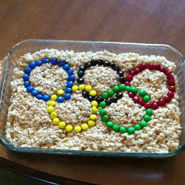 Ready for the Olympic party tonight. Rice krispies with M
