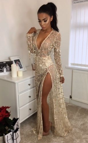 be939db6a2ed Women-Sexy-Fringe-Sequin-Long-Sleeve-Deep-V-Neck-Evening-Party-Maxi-Prom- Dress